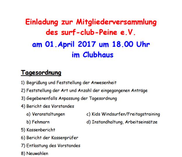 einladung zur mitgliederversammlung am 01. april 2017 | surf-club, Einladung